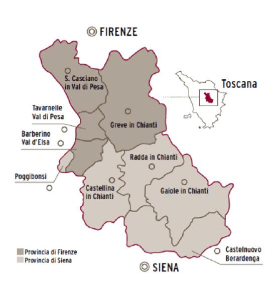 Carte des vins de Toscane