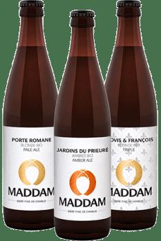 Bouteilles de bières de la Brasserie Maddam