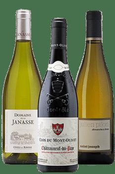 Bouteilles de vin de la Vallée du Rhône