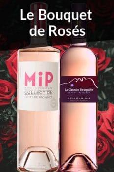 Bouteilles de vin de la Sélection Spécial Fête des Mères Bouquets de rosés