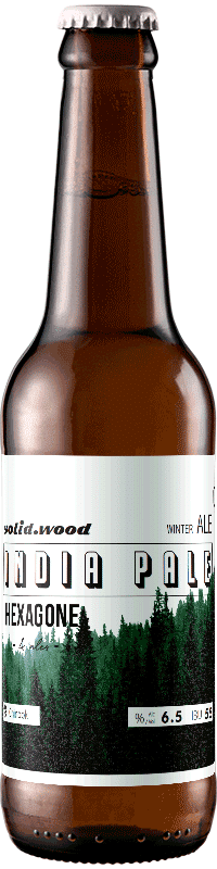 Bouteille de bière solid wood winter ipa brasserie Hexagone Ales