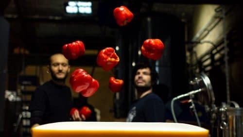 Brassage de poivrons à la Brasserie La Débauche