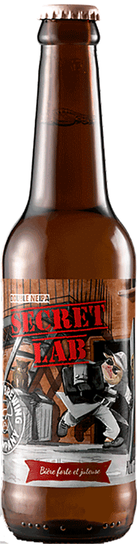 Bouteille de bière Secret Lab Double New England IPA Brasserie Piggy Brewing Company