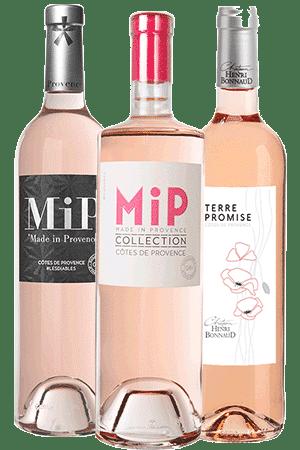 Bouteilles de vins rosés de Provence