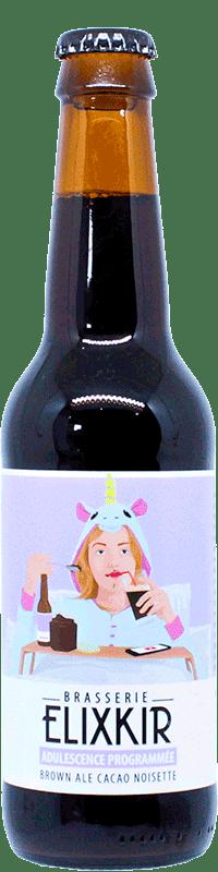 bouteille de biere artisanale brown ale adulescence programmée brasserie elixkir