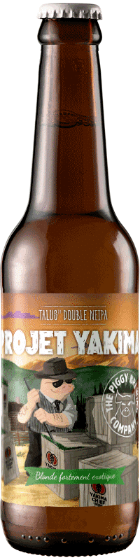 Bouteille de bière Projet Yakima Double NEIPA Brasserie Piggy Brewing Company