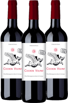 Bouteilles de vin Cochon Volant du Château de Caraguilhes dans les Corbières