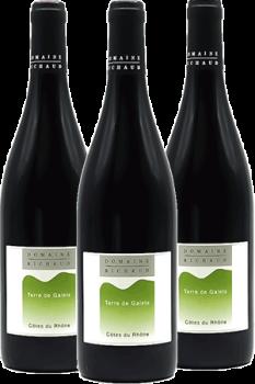 Bouteilles de vin Côtes du Rhône Terre de Galets du Domaine Richaud