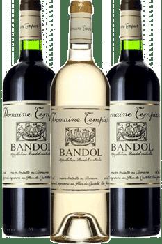 Bouteilles de vin Bandol Rouge et blancdu Domaine Tempier