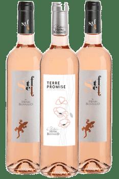 Bouteilles de vins rosés du Château Henri Bonnaud