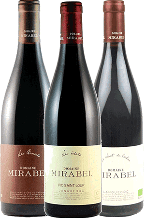 Bouteilles de vin du Coffret Découverte du domaine Mirabel en Pic Saint Loup