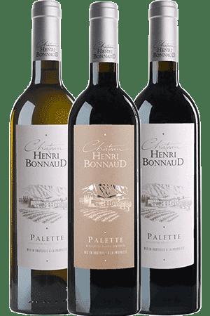 Bouteilles de vin du coffret Découverte du Château Henri Bonnaud en aoc Palette en Provence